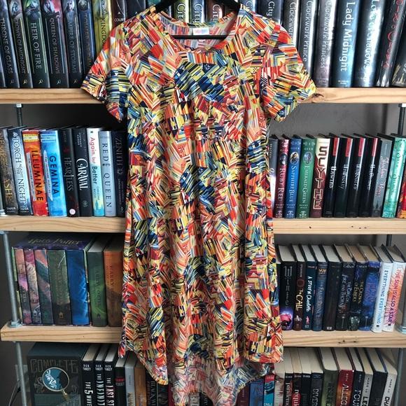 LuLaRoe Dresses & Skirts - LuLaRoe Yellow Orange Geometric Print Carly Dress